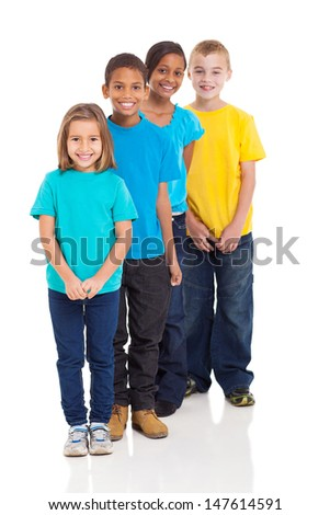 happy multiracial young children isolated on white - stock photo