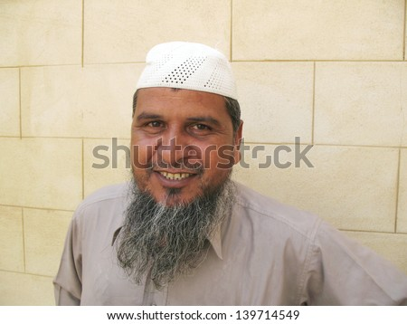 Happy muslim old man - stock photo