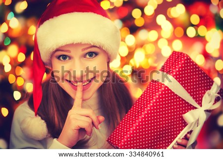 happy   mysterious  woman with magic gifts Christmas  night - stock photo