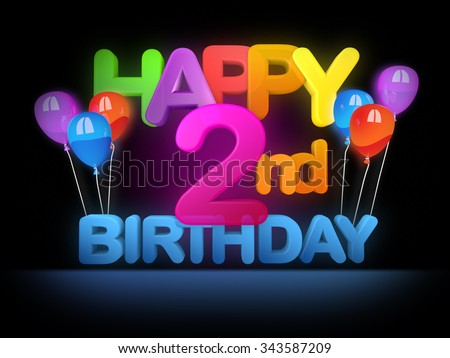 Happy 2nd birthday Title in big letters - stock photo