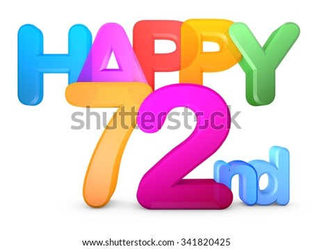 Happy 72nd Title in big letters - stock photo