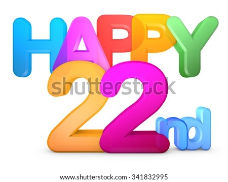 Happy 22nd Title in big letters - stock photo