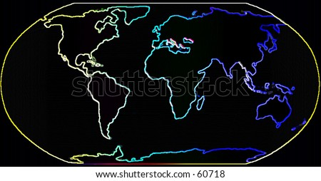 Happy Neon Map of the World - stock photo