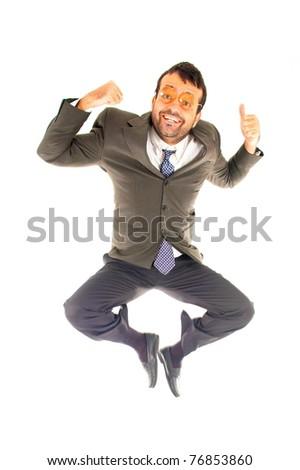 Happy Nerd Businessman very happy and jump - stock photo