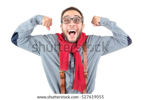 Happy nerd posing isolated in a white background
