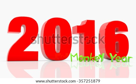 Happy New Monkey Year 2016 - stock photo