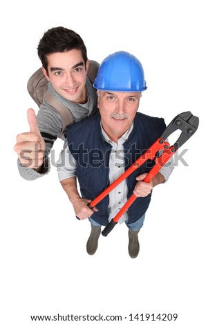 Happy new starter with boss - stock photo