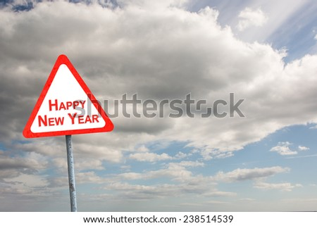 Happy new year against sky