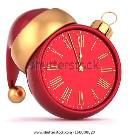 Happy New Year alarm clock bauble Christmas ball ornament decoration Santa hat icon red gold. Wintertime midnight countdown future beginning symbol souvenir. 3d render isolated on white background - stock photo