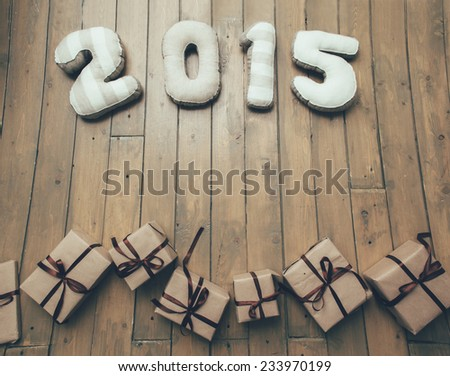 Happy New year 2015 and gifts - stock photo