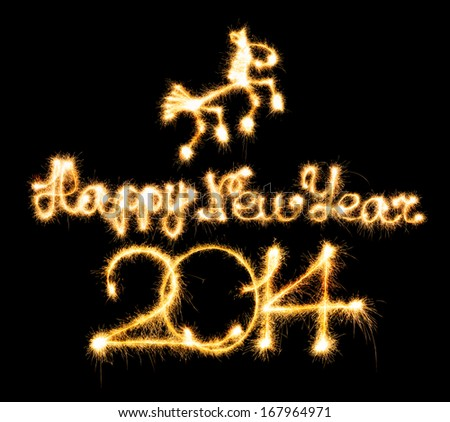 Happy New Year - 2014 and horse made a sparkler on black background - stock photo