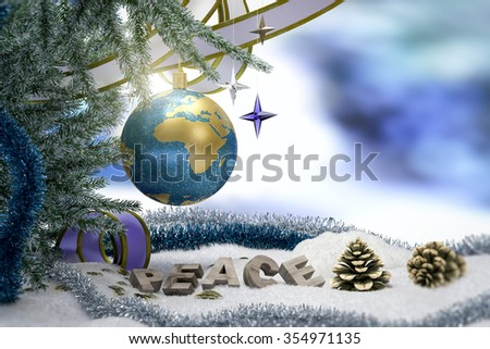 Happy New Year and Merry Christmas background with earth and peace word - stock photo