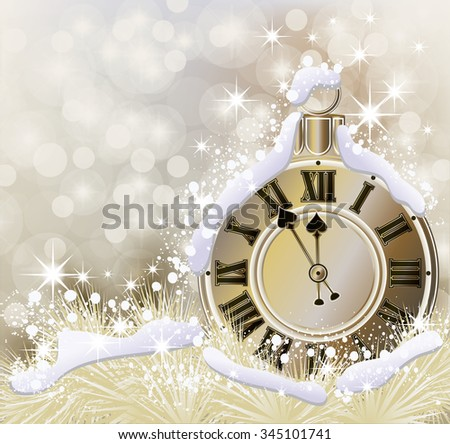 Happy New Year and Merry Christmas golden background, vector illustration