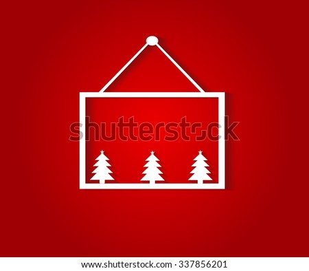 Happy New Year and Merry Christmas hanging poster - stock photo
