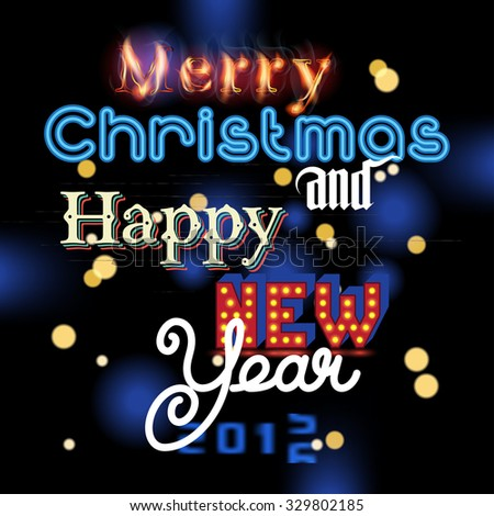 Happy New Year and Merry Christmas invitation. Elegant lettering. - stock photo