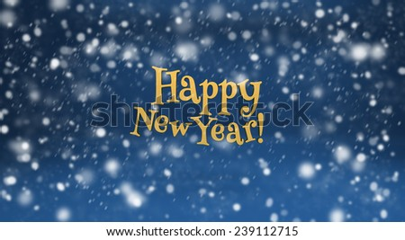 Happy New Year and snow. Design elements for holiday cards - stock photo