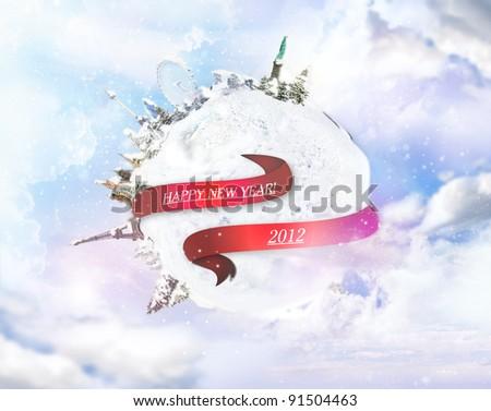 Happy new year around the world illustration - stock photo