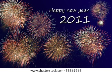 happy new year 2011 at fireworks - stock photo