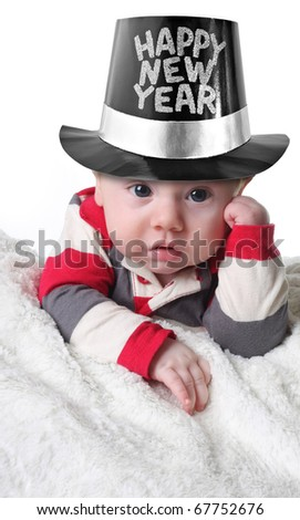 Happy New year baby wearing a top hat - stock photo