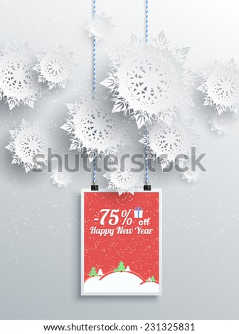 Happy New Year background discount percent with snowflake and poster with text. Winter Christmas sale design elements. Raster version - stock photo