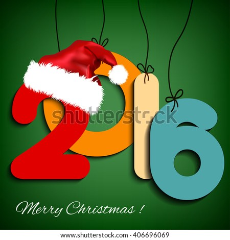 Happy New Year background 2016 with Christmas hat. illustration.