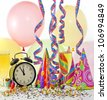 Happy new year background with glass of champagne clock and balloons - stock photo