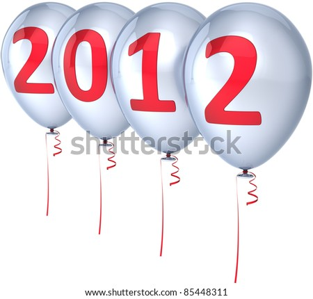 Happy New 2012 Year balloons party decoration silver decorated with red date. Merry Christmas joy fun abstract. Design element for festive calendar. Detailed 3d render. Isolated on white background