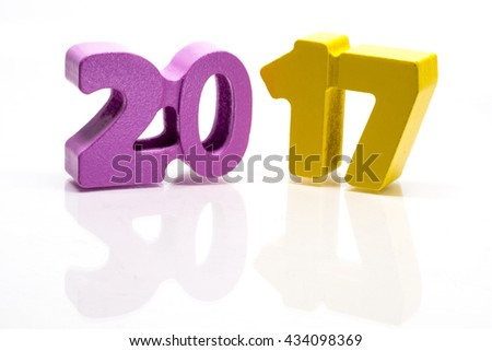 Happy New Year 2017. Block of numbers on white background, seamless with reflection
