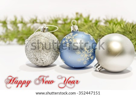 Happy new year blue and gray decorative ball on the white background