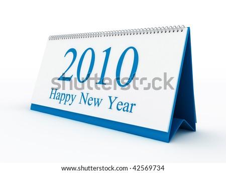 Happy new year 2010 blue calendar - stock photo