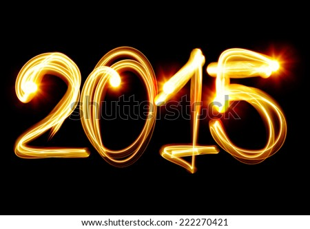 Happy New Year 2015 by light - stock photo