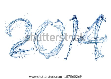 Happy New Year 2014 by Pure splash of water isolated on white background - stock photo