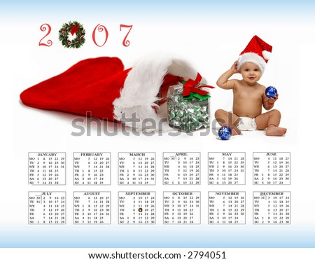 happy new year  - calendar  - baby