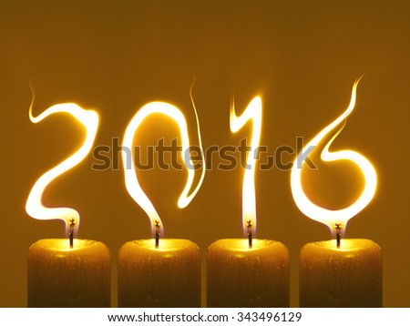 Happy new year 2016 - candles - stock photo
