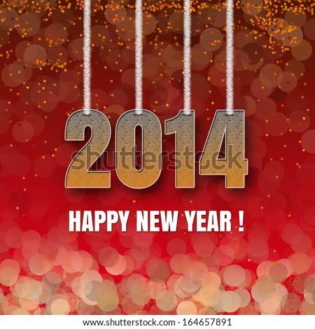 Happy New Year card 2014 - stock photo