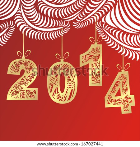 Happy new year card illustration - stock photo