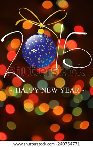 Happy New Year Card 2015 Illustration, Two thousand fifteen New Year - stock photo