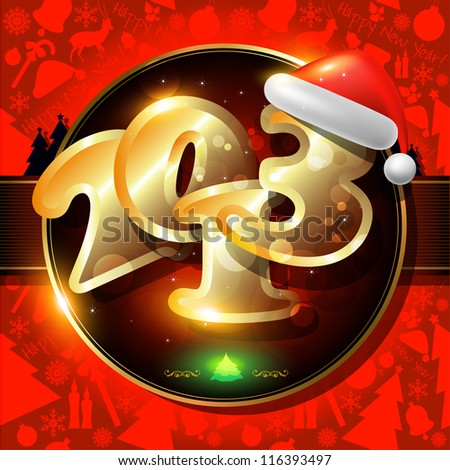 Happy New Year card or  background with ribbons, Santa`s hat,  snowman, candles, snowflakes, deer,  tree, balls, stars.
