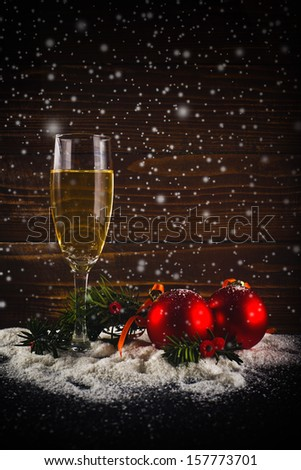 Happy New Year card. White wine and christmas balls. New Year's Eve decoration. - stock photo