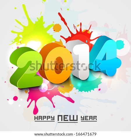 Happy New Year 2014 celebration flyer, banner, poster or invitation with colorful stylish text.