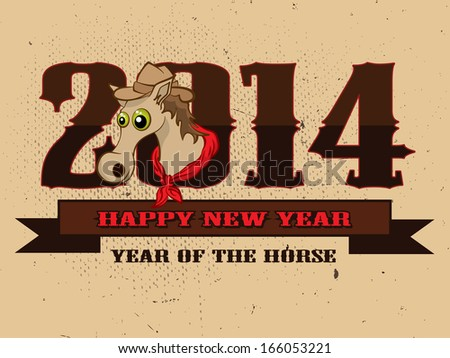 Happy New Year 2014 celebration flyer, banner, poster or invitation with stylish text and symbol of the year Horse on retro background. Western theme - stock photo