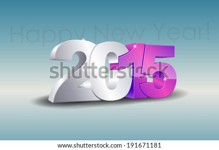 Happy new year 2015 celebration greeting card design. (Raster)