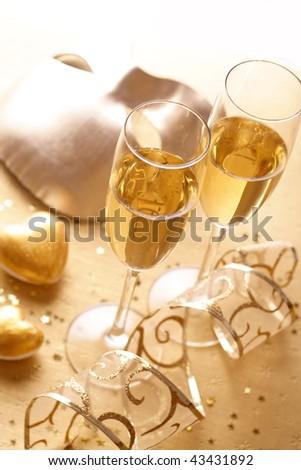 happy new year champagne - stock photo