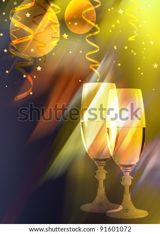 Happy new year - champagne and balloons. - stock photo