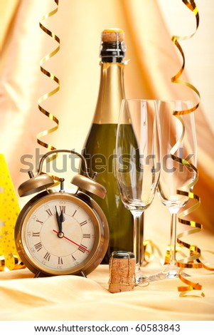 Happy new year - champagne and party decoration