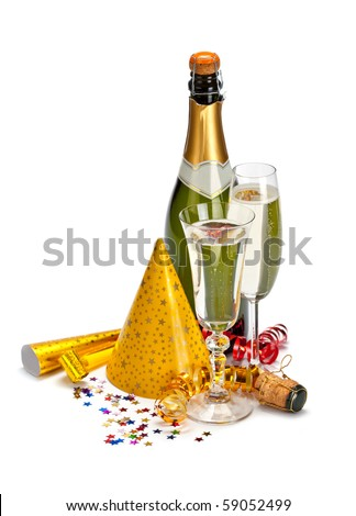 Happy new year - champagne and serpentine - stock photo