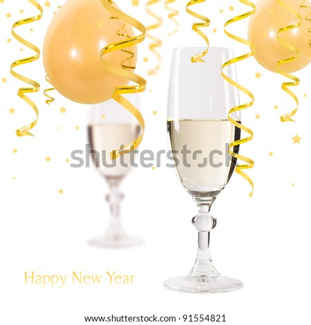 Happy new year - champagne and serpentine. - stock photo