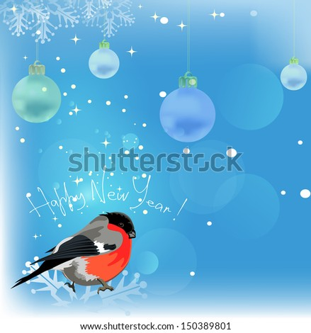 Happy new year. Christmas Background. Bullfinch on a blue background.