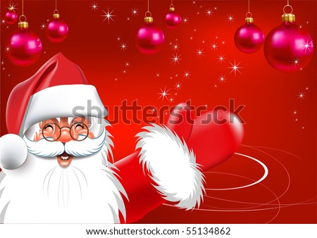 Happy new year. Christmas. Santa Claus. Red background - stock photo