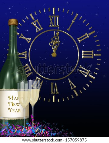 happy new year clock and champagne bottle with confetti